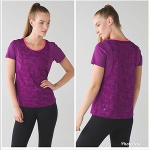 Lululemon 6 run for days purple camo athletic tee